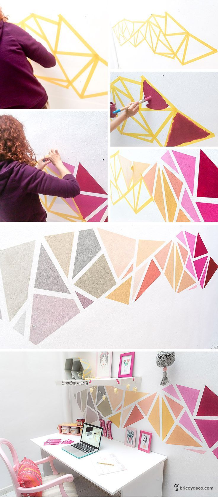 Decoración geométrica de pared paso a paso #geometric #decor #pintura #washi - #decoracion #homedecor #muebles
