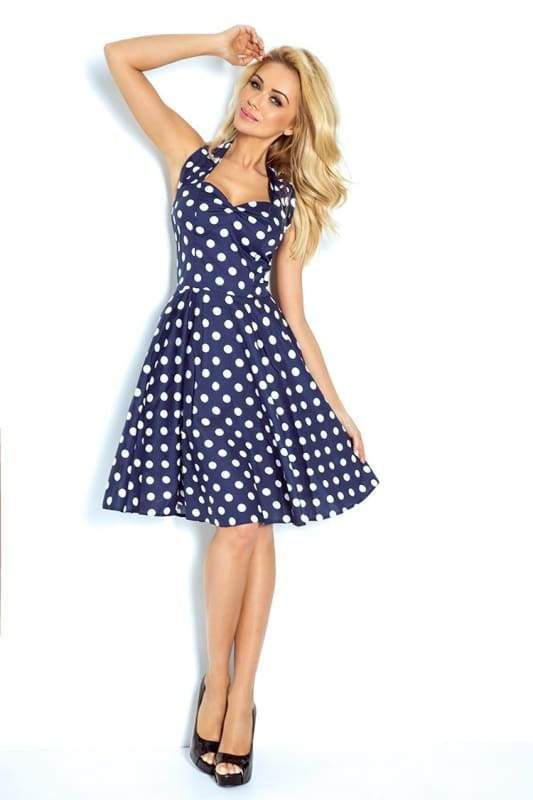 e95aa3f5c9fb Navy Blue   White Polka Dot Flare Dress