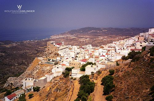 Menetes VIllage right on Hill top. One of the most famous churches in Greece the Virgin Saint Mary