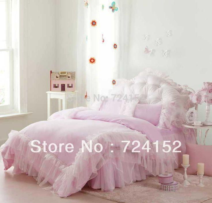 Romantico falbala bianco volant di pizzo set di biancheria da letto Principessa Rosa copripiumino impostare il colore solido pieno/regina/re(China (Mainland))