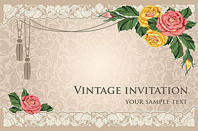 Vintage Wedding Invitation Card Flower Pattern Vector Background
