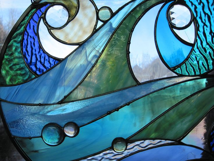 Ocean Wave Stained Glass Panel from Renaissance Glass.