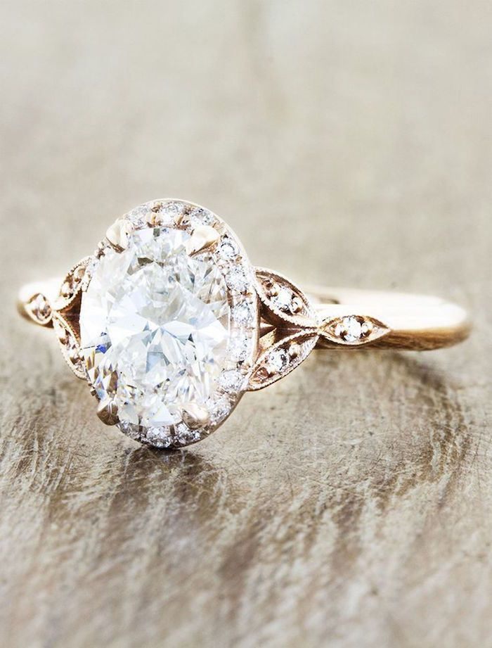 love the elegant vintage design of this gold engagement ring. via Ken and Dana Design