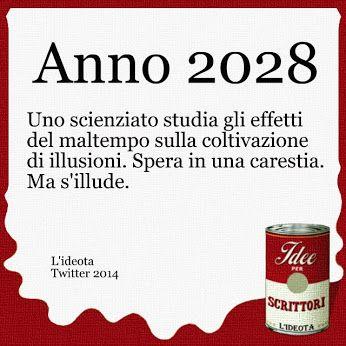Anno 2028. Uno scienziato studia gli effetti del maltempo sulla coltivazione di illusioni. Spera in una carestia. Ma s'illude.