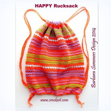 This crochet backpack is a perfect stash buster as well as a great place to keep your next crochet project. HAPPY Rucksack - FREE Crochet PATTERN - CAL - Media - Crochet Me