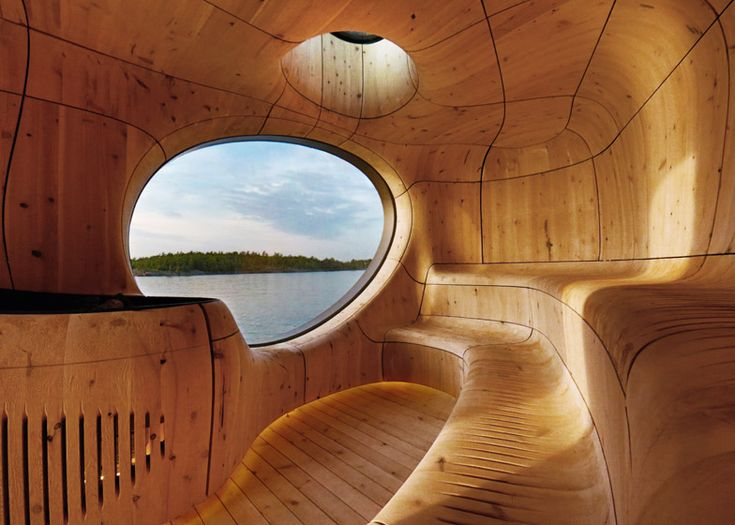 Partisans' lakeside sauna takes the form of a cavernous wooden grotto.