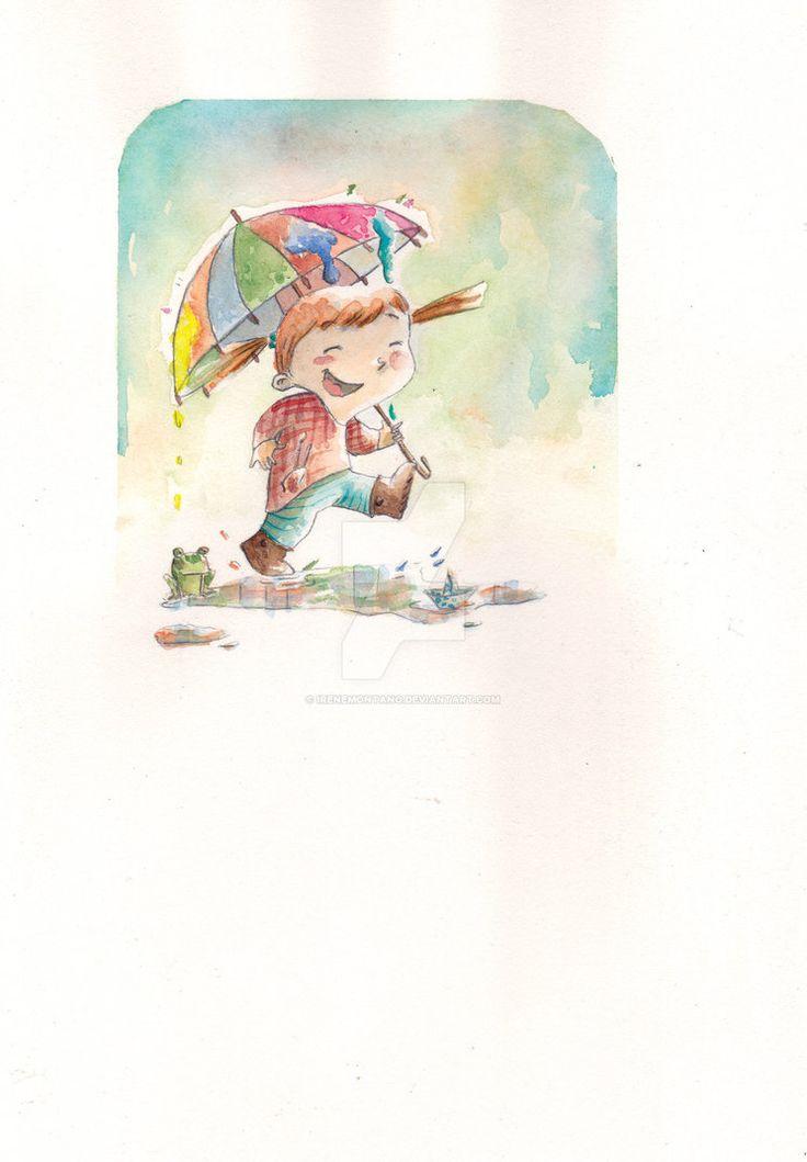 Piove ad acquerello by IreneMontano #bimba #illustrazione #pioggia #rana #pozzanghera #acqurello