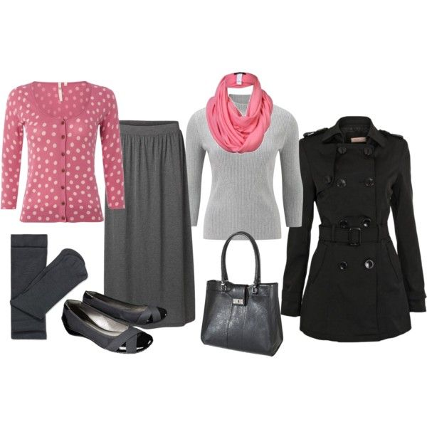 pink, black and gray skirt outfit