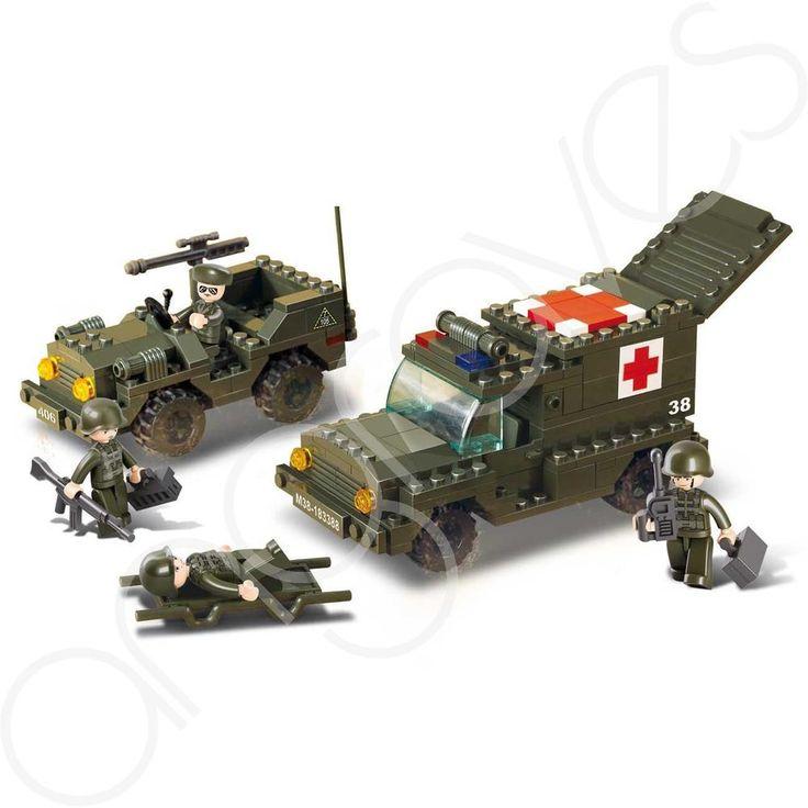 Army Land Forces Medic Ambulance & Jeep Tank Truck Building Bricks Boys Set
