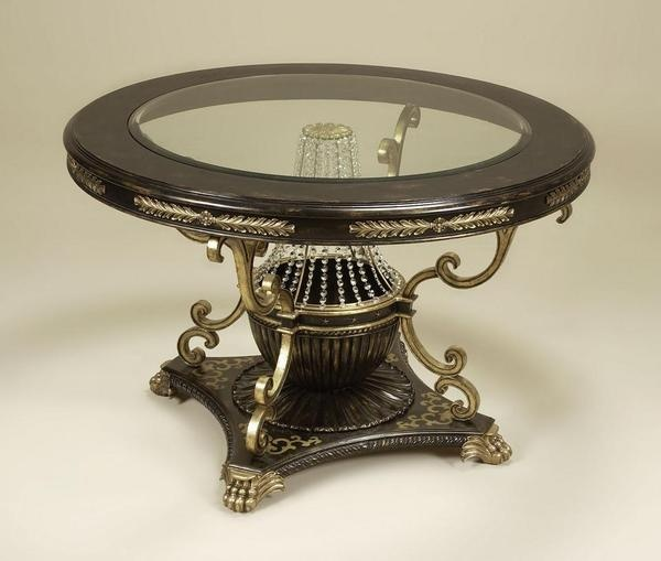 Hand Carved Hardwood And Inset Beveled Glass   50 Inch Round Crystal  Pedestal Entry Foyer /