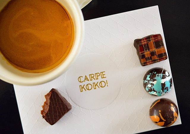 """Chocolate and coffee, it's a food group right?CARPE KOKO! says """"Yes!""""  Image from Instagram user @six_impossiblethings"""