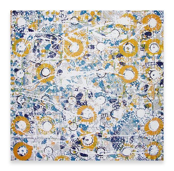 SIDEWAYS SUNFLOWERS     48″ x 48″ Mixed Media on Canvas  $5000
