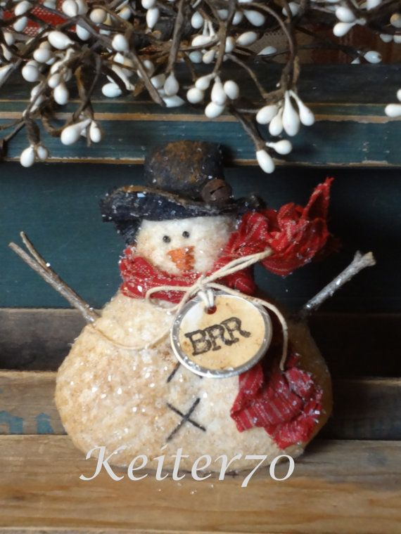 Primitive Christmas Holiday Snowman Ornie/Ornies Bowl by keiter70
