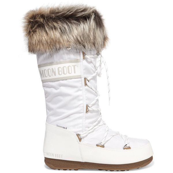 Moon Boot Monaco faux fur-trimmed shell-piqué and faux leather snow... ($235) ❤ liked on Polyvore featuring shoes, boots, white, white shoes, shearling-lined boots, white moon boots, ski boots and faux-leather boots