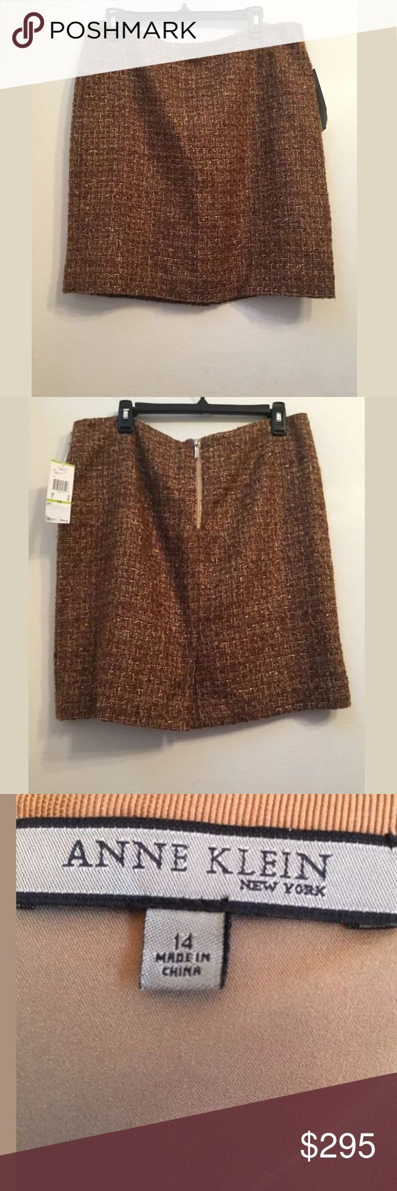 NWT $295 ANNE KLEIN Wool Brown Pencil Skirt 14 NWT $295 ANNE KLEIN Wool Blend C18 Brown Pencil Skirt Size 14.  Super cute and practical!!  Thanks so much for looking!! Anne Klein Skirts Pencil