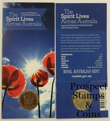 Royal Australian Mint :: 2015 Coin Releases :: 2015 The Spirit Lives Across Australia 100 Years of ANZAC Counterstamp ($1) One Dollar Australian Decimal Coin
