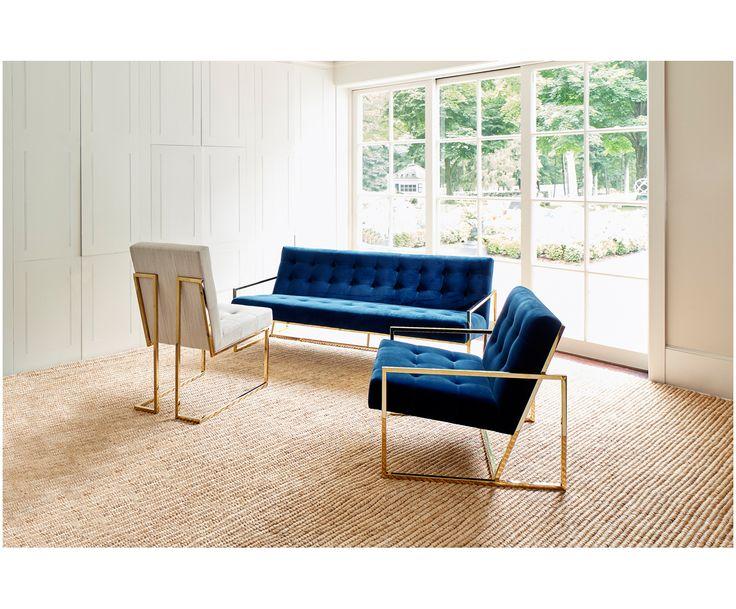 Sofa Marineblau, Messing - JONATHAN ADLER >> WestwingNow | WestwingNow