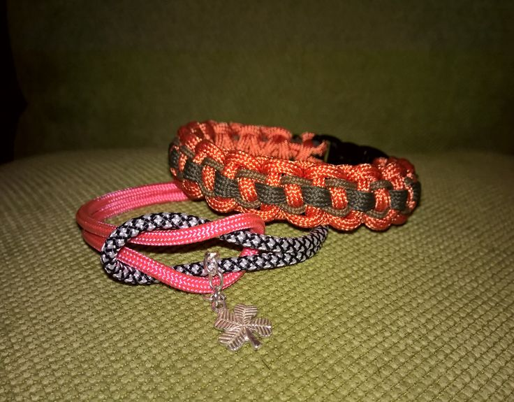Solomon Bar Cobra bracelet and rope bracelet with metal clover