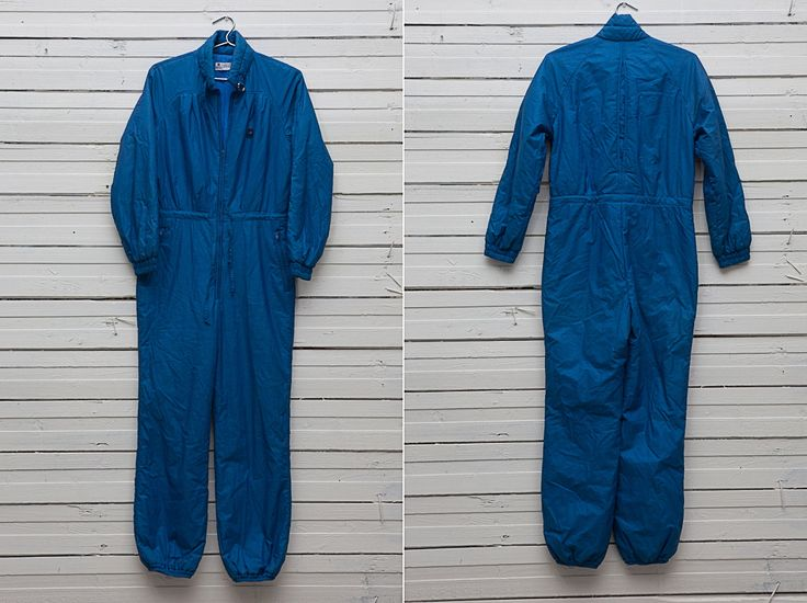 Blue Skiing Onesie /  1980s Vintage Dark Blue Skiwear Onepiece Snow Suit / Size Small S XS / Women Snowboarding Clothing / Snow Overall by CoverVintage on Etsy
