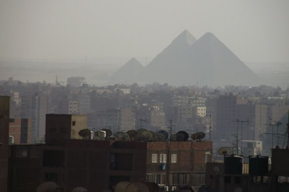 A view of the pyramids from out hotel rooftop