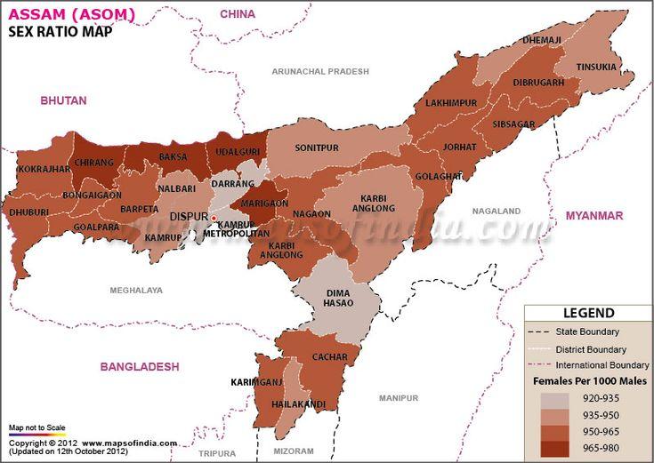 Sex ratio map of Assam