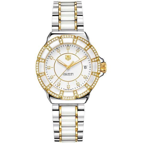 Tag Heuer Ladies' Formula 1 White Ceramic Diamond Watch ($3,600) ❤ liked on Polyvore