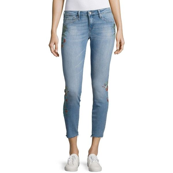 Mavi Women's Five Pocket Embroidered Floral Skinny Jeans ($76) ❤ liked on Polyvore featuring jeans, embroidered blue, light blue jeans, floral jeans, blue skinny jeans, floral embroidered jeans and flower embroidered jeans