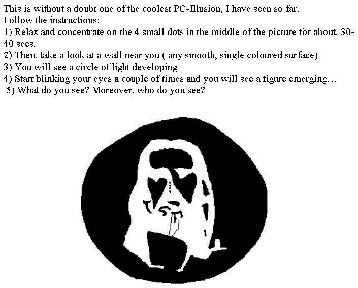 Optical Illusion Brainteaser, stare at the image then look on a close wall for a freaky cool optical illusion!