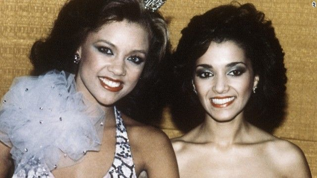 Great Miss America history lesson here:  Vanessa Williams, left, became the very first African American woman to be crowned Miss America, back in 1983.  The lady to her right is Suzette Charles, her first runner up.  Sadly, once it was revealed that Williams had posed for compromising photos for Penthouse magazine, she was forced to relinquish her crown to Charles, who completed the remainder of Williams' reign for the following year.
