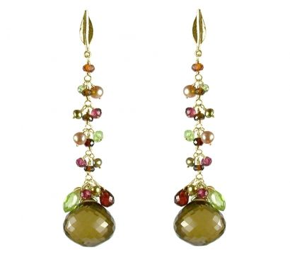 9ct Gold long earrings featuring a leaf top, a mixture of Garnet, Tourmaline, Peridot, fresh water pearl beads and a Cognac Quartz drop. http://mounir.co.uk/collections/sparkling_nights/5527_gold_leaf_long_earrings
