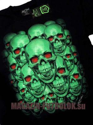 3D футболка Green Skulls - Red Eyes