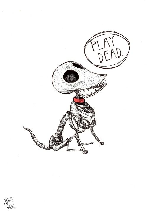 "Scraps ""Play dead !"" (from the Corpse Bride) http://mmepee.tumblr.com"