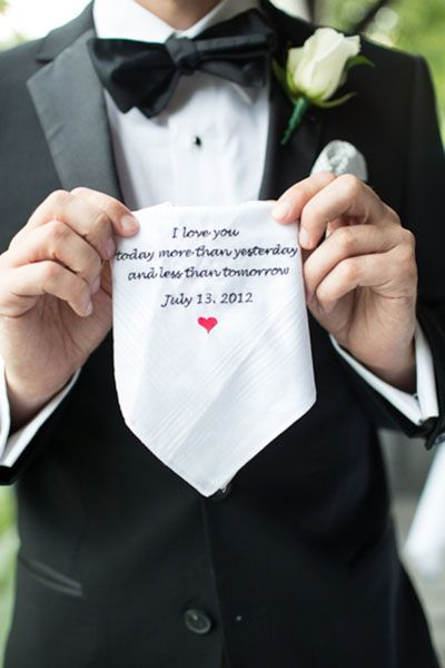 Surprise your groom with an embroidered message on the back of his tie or pocket square | Emilia Jane Photography