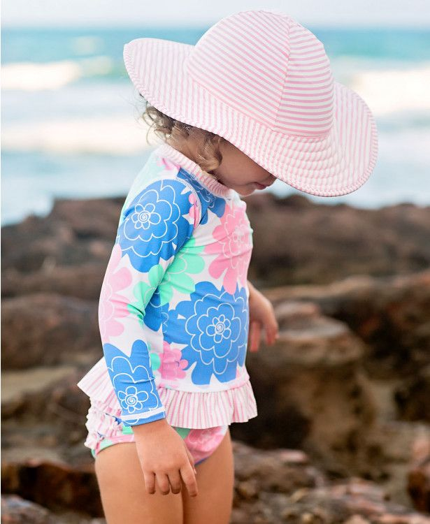 fbe0af66e5 Pink Seersucker Swim Hat in 2019   Little girl swimsuits ...
