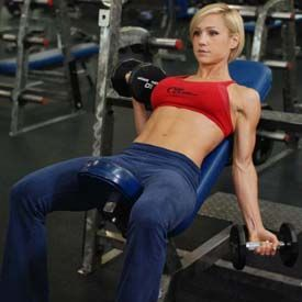 Biceps. Alt. Incline Dumbbell Curl - using an incline bench make sure the weights hang all the way at your sides and curl up to your shoulder, and all the way back down.