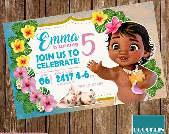 Moana Baby Invitation Birthday Printable Party Card