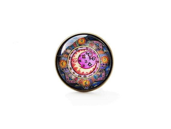Esoteric moon - big adjustable ring, adventure magical vintage 20mm glass dome cabochon bezel statement ring image graphic ring astronomical