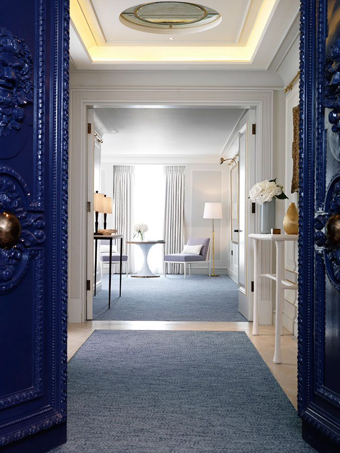 I love how it can still be airy and bright even with the shades of blue.  David Collins design for the Apartment Connaught Hotel, London