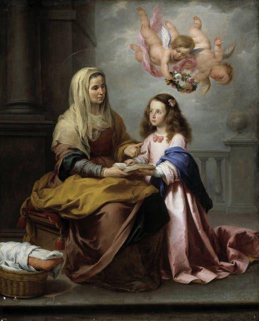 Santa Ana y la Virgen, 1655. Bartolomé Esteban Murillo (1617 – 1682), Spanish painter. Oil on canvas, Museo del Prado.