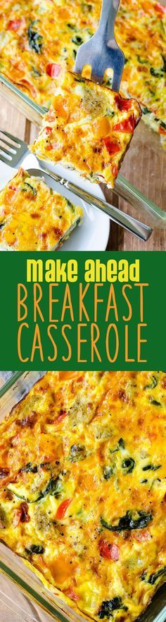 Make Ahead Breakfast Casserole: This sausage, vegetable, and egg casserole can be frozen or made a day in advance for easy entertaining. Completely customizable and great for feeding a crowd!