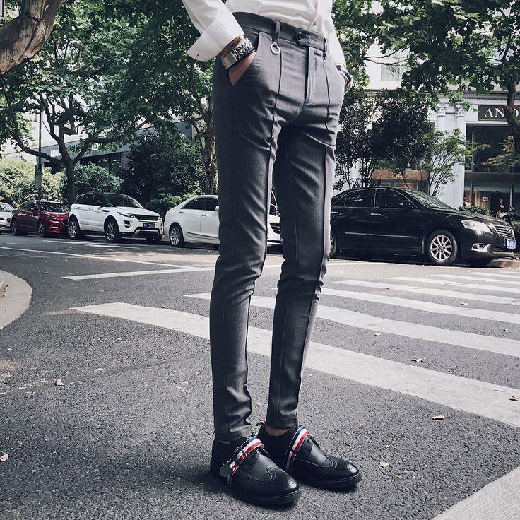 >> Click to Buy << 2017 Social Pants Mens Dress Pant Slim Fit Mens Fashion Casual Pants Grey Pantalones Hombre Cargo Pants Mens Tight Trousers #Affiliate