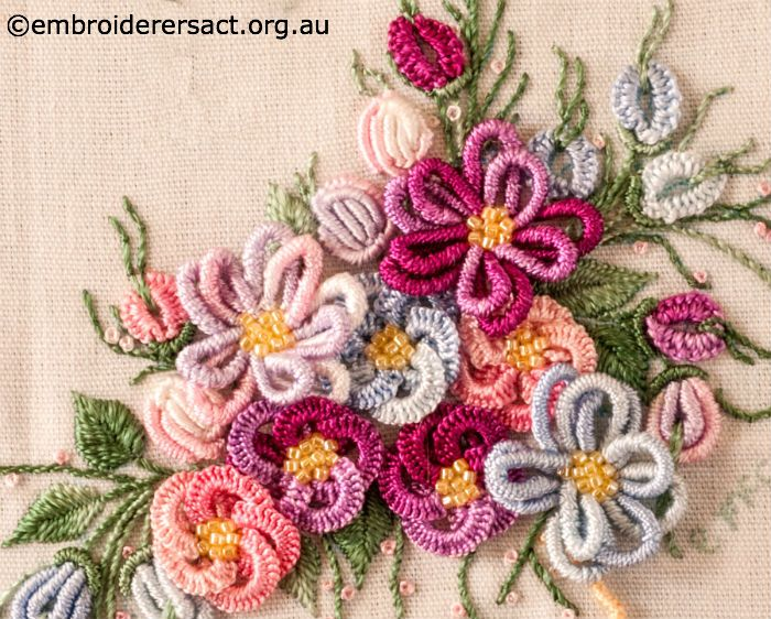 Detail of Vase of Flowers in Brazilian Embroidery stitched by Elvi ...
