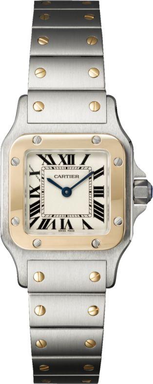Santos de Cartier Galbée watch Small model, 18K yellow gold, steel