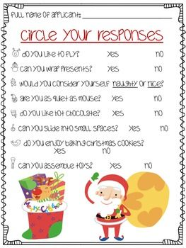 Santa's Little Helper: Job Application | Christmas | Santa's Little