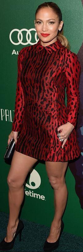 Who made  Jennifer Lopez's red leopard dress and black platform pumps
