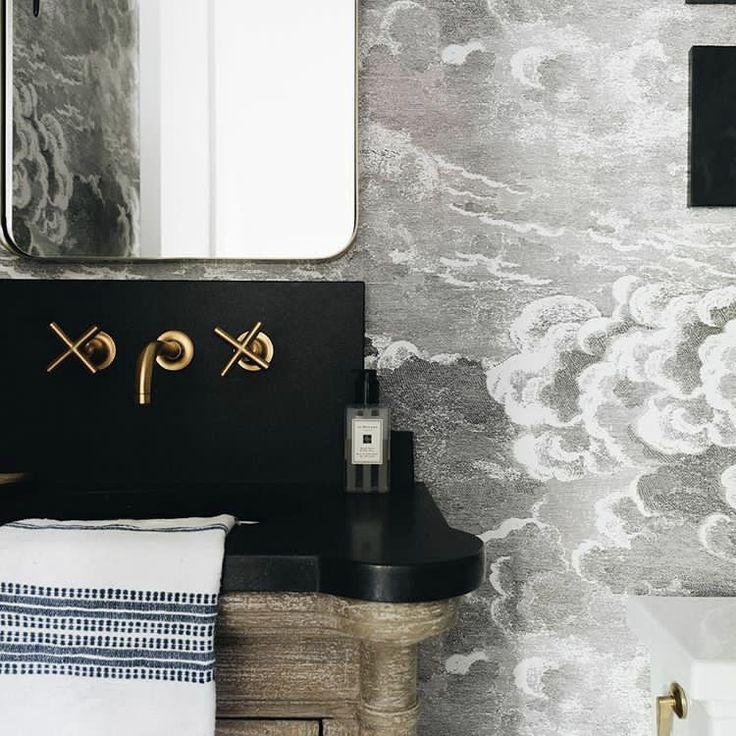 this bathroom isn't all smoke and mirrors... @katemarkinteriors #BrassIsBack #WashroomCrushWednesday #inspo