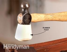 "Low-cost custom mallet...for tapping furniture parts together—and apart—is pretty simple...slip 1"" rubber foot from the hardware store onto ball peen hammer...fits in tight spots & focuses the hammer blow more accurately during disassembly & glue-ups.""  Rubber feet are inexpensive & come in various diameters (¾"" to 1½""). Take the hammer to the store to be sure to get one that fits."