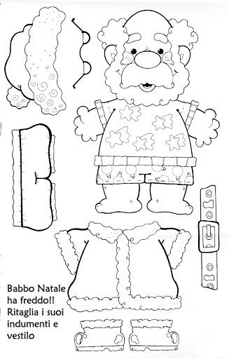 Schede Natale, Coloring pages, paper doll Santa.