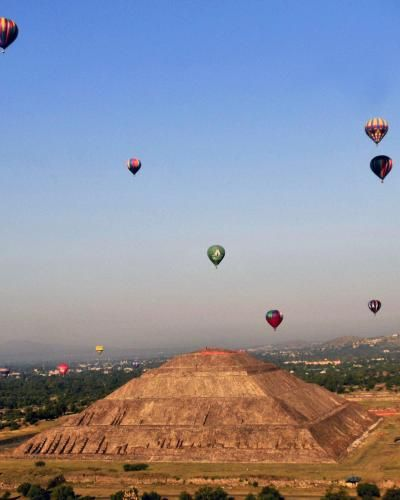 Above It All: Teotihuacan Hot-Air-Balloon Ride  Cap off a trip to Mexico City with an unforgettable perspective on one of the country's other great sights, Teotihuacan, a pre-Columbian UNESCO World Heritage site located about 30 miles from D.F. that is home to some of the largest ancient pyramids in the world, including the Pyramid of the Sun, the Pyramid of the Moon and the Temple of Quetzalcoatl.