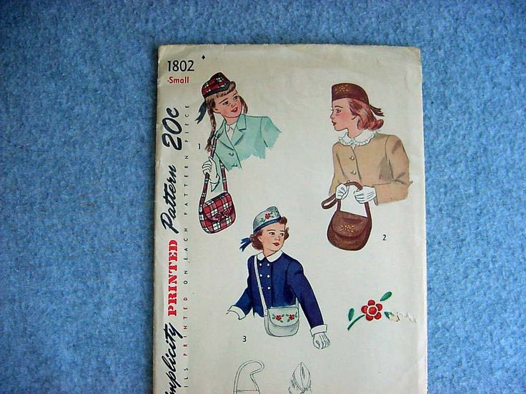 Scottish Hat Sewing Pattern With Over The Shoulder Purse Vintage 1940's Child's Millinery Simplicity Number 1802 Size 12  Girl's Handbag by Kissisjustakiss on Etsy